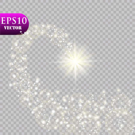 A bright comet with . Falling Star. Glow light effect. Vector illustration Illustration