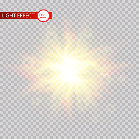 Lens flare light effect. Sun rays with beams isolated on transparent background. Vector illustration. Eps 10 Imagens - 114952114