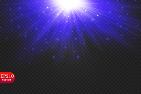 Transparent blue ligthy effects on a dark background. Spotlights, flare, explosion and stars. Vector. Eps 10