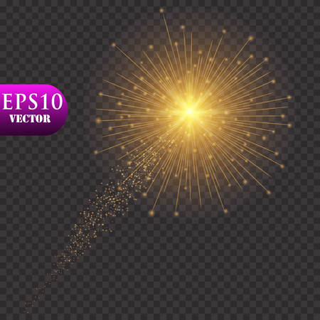 Golden Lights Background. Christmas Lights Concept. Vector illustration. Eps 10 矢量图像