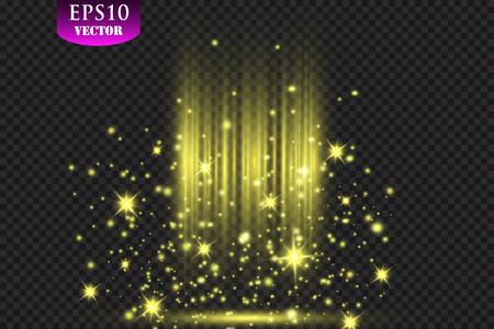Shining Spotlights on Stage Curtain. Vector illustration. Eps 10