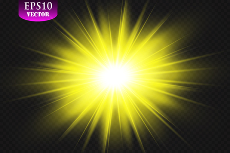 Transparent Golden Glow light effect. Star burst with sparkles. Eps 10. Ilustracja