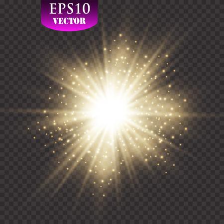 Glow light effect. Starburst with sparkles on transparent background. Vector illustration. Sun.Eps 10.