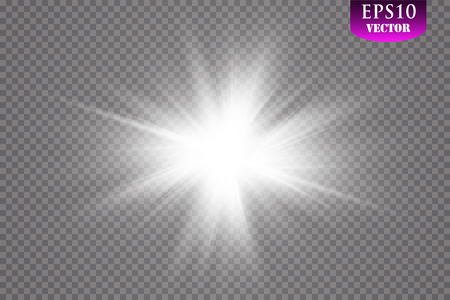 Glow light effect. Starburst with sparkles on transparent background. Vector illustration. Sun.Eps 10. 矢量图像