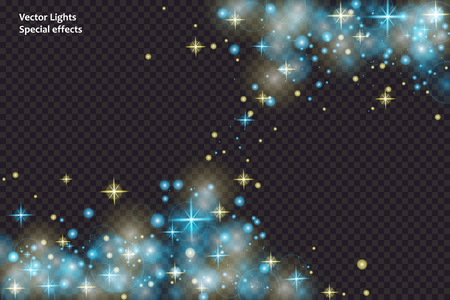 blue sparks and stars glitter special light effect. Sparkling magic dust particles.Light flare special effect with rays of light and magic sparkles. Glow transparent vector, explosion, glitter. Ilustracja