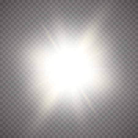 Glow light effect. Starburst with sparkles on transparent background. Vector illustration. Sun.Eps 10. Ilustracja