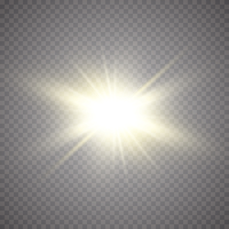 Glow light effect. Starburst with sparkles on transparent background. Vector illustration. Sun.Eps 10. Çizim