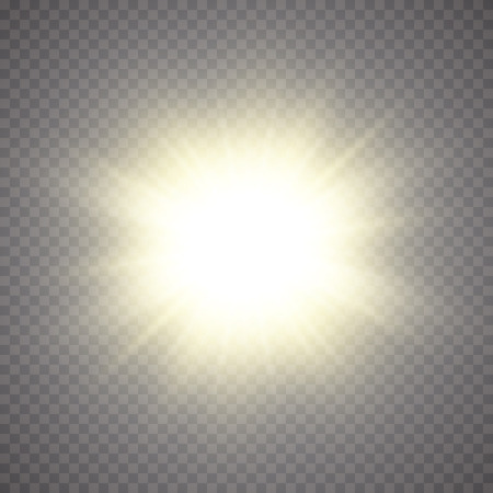 Glow light effect. Starburst with sparkles on transparent background. Vector illustration. Sun.Eps 10. Illustration