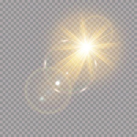 Vektor transparentes Sonnenlicht spezielle Linseneffekt Lichteffekt. Sonnenblitz mit Strahlen und Scheinwerfer