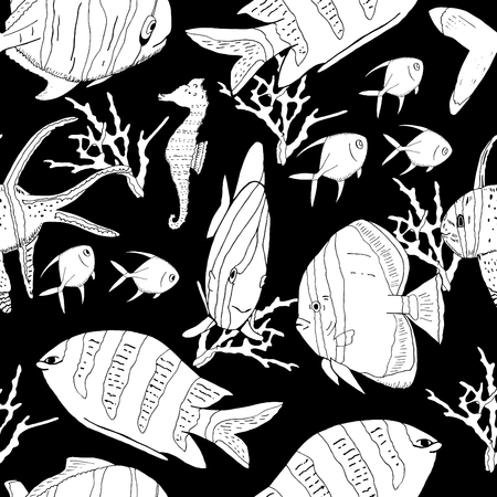 Underwater seamless pattern with exotic fish, seahorses, coral on black. Hand drawn vector