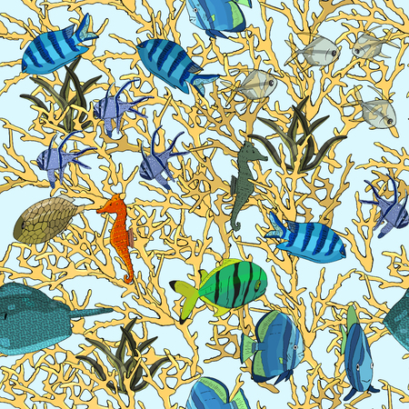 Underwater seamless pattern with exotic fish, seahorses, coral on black. Hand drawn vector 免版税图像 - 104417484