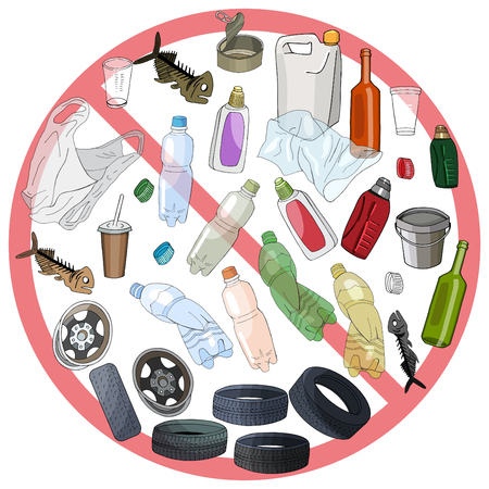 Different kinds of garbage. The concept of ecology and environmental protection.