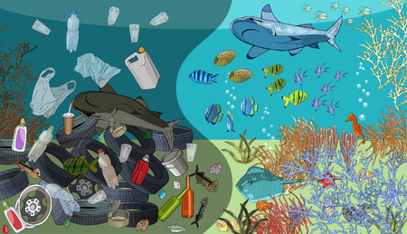 Ocean water pollution. Garbage, waste, fish death