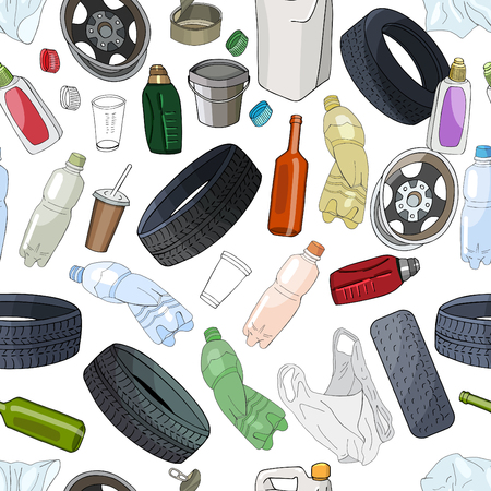 Seamless background with different kinds of garbage. The theme of ecology Иллюстрация