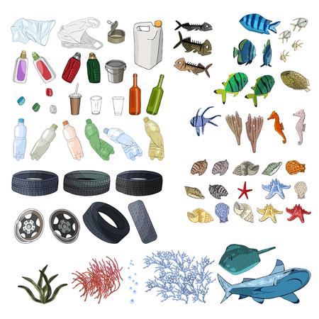 Different kinds of garbage in oceans, sea 免版税图像 - 106510402