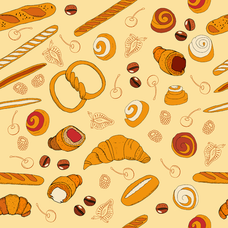 Seamless bakery background with cartoon goods Иллюстрация