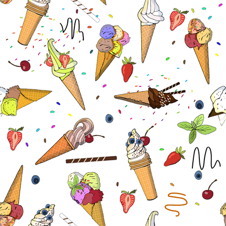 Seamless pattern with icecreams, buns and donuts.