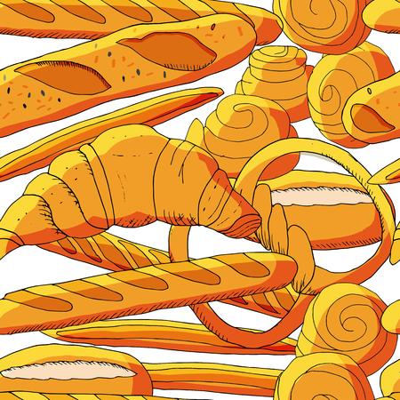 Bezszwowe tło piekarnia z kreskówka wypieki