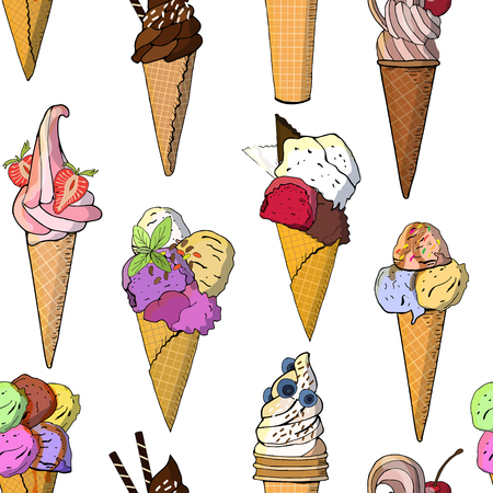 Sweet ice cream seamless pattern. Vector illustration, hand drawn elements. Excellent print for greeting cards, clothes, bed linens, fabric, textiles, wallpaper, wrapping paper, gift box Иллюстрация