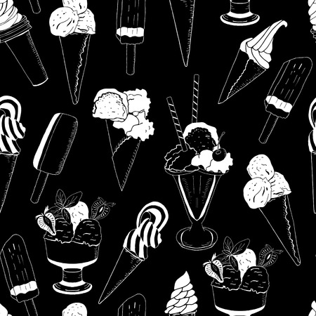 Sweet ice cream seamless pattern on black. Vector illustration, hand drawn elements. Excellent print for greeting cards, clothes, bed linens, fabric, textiles, wallpaper, wrapping paper, gift box