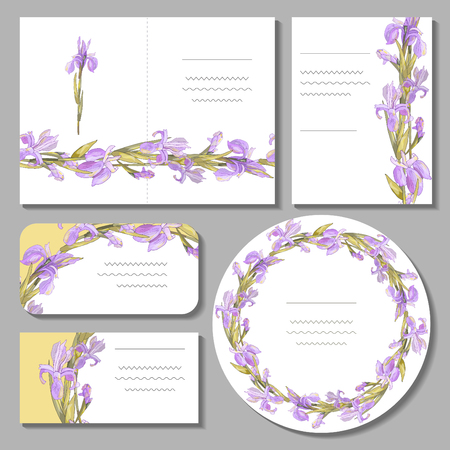 Set with floral romantic templates. Irises. For design gift boxes, announcements, postcards, posters, invitations, visit card.