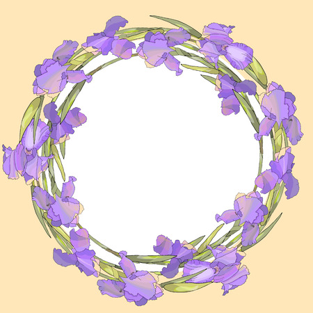 Round season wreath with irises isolated on yellow. For design gift boxes, announcements, postcards, posters, invitations