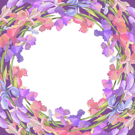 Round season wreath with irises isolated on violet