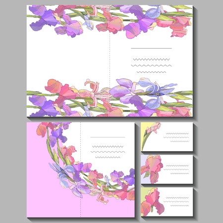 Set with floral romantic templates. Irises. For design gift boxes, announcements, postcards, posters, invitations, visit card. 免版税图像 - 111908417