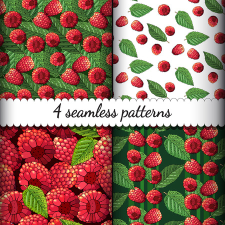 Set of four seamless summer patterns with ripe raspberries and l