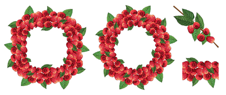 Seamless border and wreaths with ripe raspberries and leaves. Vector illustration Иллюстрация