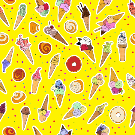 Summer seamless pattern with icecreams, buns and donuts. Vector illustration, hand drawn elements. Excellent print for greeting cards, clothes, bed linens, fabric, textiles, wallpaper, wrapping paper, gift box. Иллюстрация