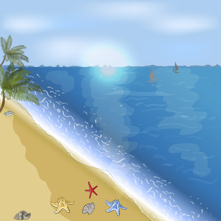 Ocean or sea beach with palms. Vector illustration Иллюстрация