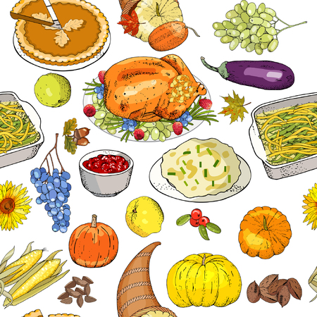 Thanksgiving autumn seamless pattern with traditional dishes and symbols izolate on white.