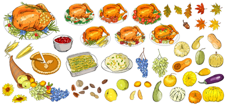 Set of objects and symbols on the Happy Thanksgiving Day - Turkey, pumpkin pie, mashed potatoes, green beans, casserole, leaves, fruit, nuts, pumpkins, cornucopia, cranberry sauce. Illustration