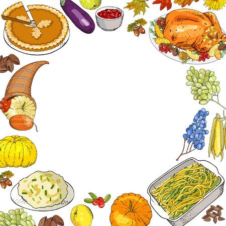 Fond d'automne de Thanksgiving avec des plats traditionnels et des symboles izolate sur blanc.