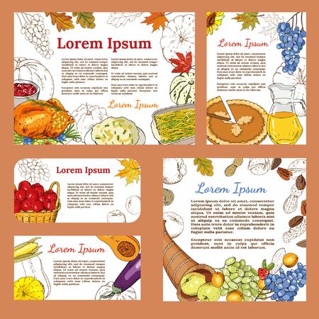 Affiches de voeux et bannières avec des symboles de Thanksgiving - dinde rôtie, tarte à la citrouille, citrouille, sauce aux canneberges, purée de pommes de terre, haricots verts, purée de pommes de terre, corne d'abondance, fruits, récolte.