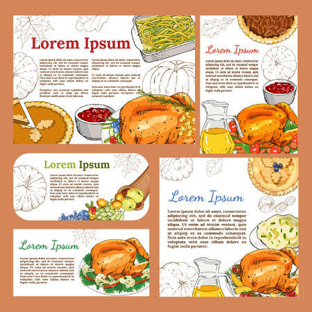 Greeting posters and banners with symbols of thanksgiving Иллюстрация