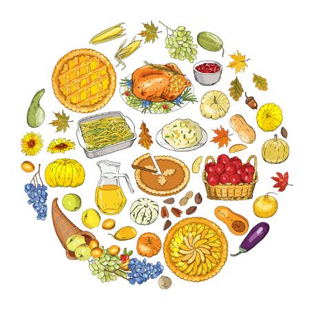 Satz von Objekten und Symbolen zum Thema Thanksgiving-Herbst.