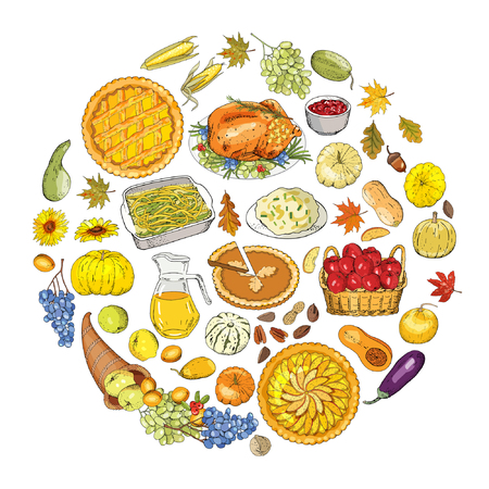 Set of objects and symbols on the Thanksgiving autumn theme.