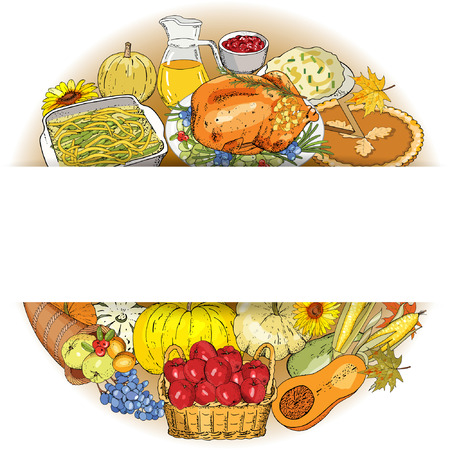 Thanksgiving autumn background with traditional dishes and symbols