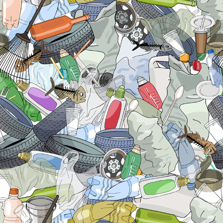Seamless pattern with different kinds of plastic garbage. The concept of ecology and World Cleanup Day. Иллюстрация