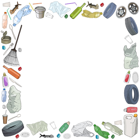 Template with different kinds of garbage and bags isolate on white. The concept of ecology and World Cleanup Day. Иллюстрация