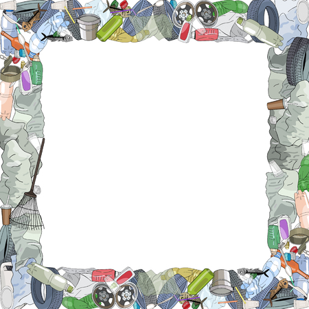 Template with different kinds of garbage and bags. The concept of ecology and World Cleanup Day. Иллюстрация