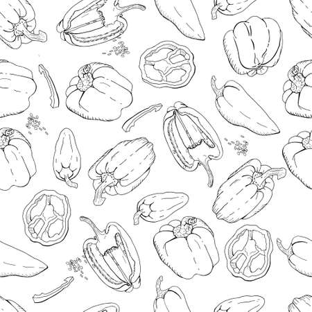 Seamless pattern with Bell Peppers. Black and white.