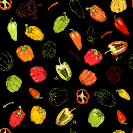 Seamless pattern with Bell Peppers. Endless texture for your design Çizim