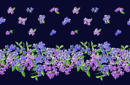 Seamless border with phlox flowers isolated on dark blue. Excellent print for greeting cards, clothes, bed linens, fabric, textiles, wallpaper, wrapping paper, gift box.