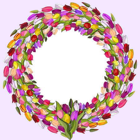 Flower wreath with tulips isolated on white. Round frame for design of invitations, cards, gift boxes.