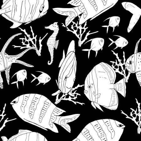 Underwater seamless pattern with exotic fish, seahorses, coral on black. Hand drawn vector.