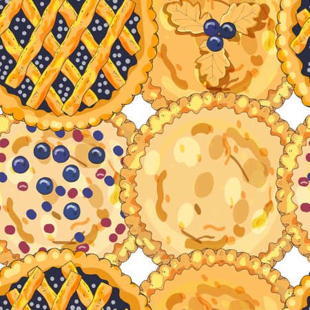 Seamless pattern with blueberry pies. The theme of autumn, harvest and thanksgiving.