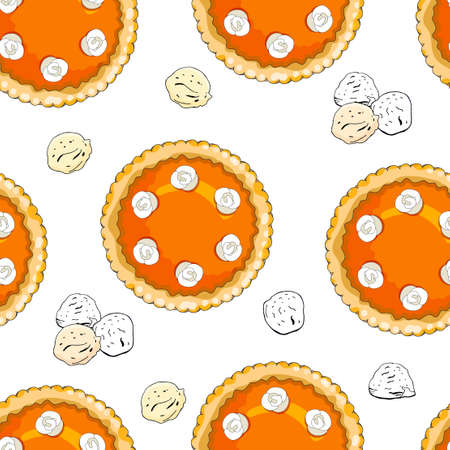 Seamless pattern with pies. The theme of autumn, harvest and thanksgiving.